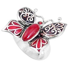 925 silver 2.18cts natural honey onyx garnet enamel butterfly ring size 6 c21386