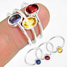 925 silver 3.42cts natural iolite garnet citrine 3 stackable ring size 6 r59898