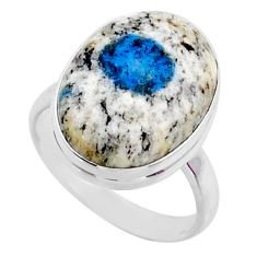 925 silver 13.87cts natural k2 blue (azurite in quartz) ring size 9 r66307