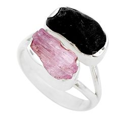 925 silver 10.82cts natural kunzite black tourmaline raw ring size 7 t21013