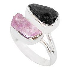 925 silver 11.66cts natural kunzite black tourmaline raw ring size 9 t21008