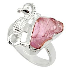 925 silver 6.84cts natural kunzite rough seahorse solitaire ring size 7 r29992