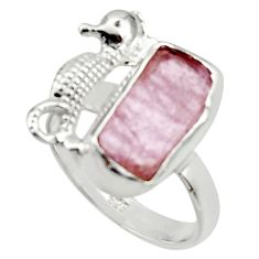 925 silver 6.51cts natural kunzite rough seahorse solitaire ring size 8 r29998