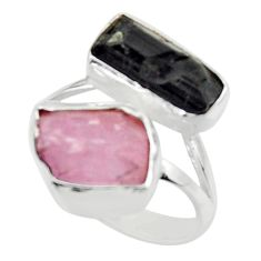 925 silver 13.77cts natural kunzite rough tourmaline rough ring size 9 r49114
