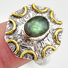925 silver 3.16cts natural labradorite 14k gold solitaire ring size 6.5 r37276