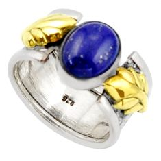 925 silver 4.54cts natural lapis lazuli 14k gold solitaire ring size 7 d46310