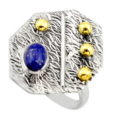925 silver 1.51cts natural lapis lazuli 14k gold solitaire ring size 7 r37334