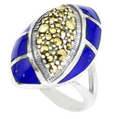 925 silver 5.42cts natural blue lapis lazuli marcasite ring size 5.5 c16331