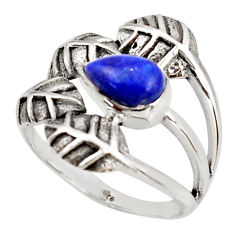 925 silver 2.63cts natural lapis lazuli pear solitaire leaf ring size 8.5 r37048