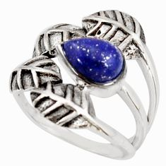 925 silver 2.63cts natural lapis lazuli solitaire leaf ring size 7.5 r37044
