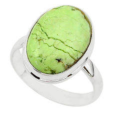 925 silver 14.65cts natural lemon chrysoprase solitaire ring size 10 r95780