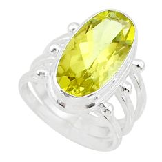 925 silver 6.04cts natural lemon topaz oval shape solitaire ring size 6.5 r73490