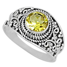 925 silver 2.61cts natural lemon topaz round shape solitaire ring size 9 r58645