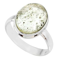 925 silver 5.94cts natural libyan desert glass oval solitaire ring size 9 r64479