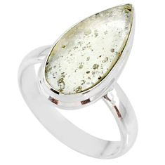 925 silver 5.94cts natural libyan desert glass pear solitaire ring size 7 r64480