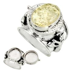 925 silver 5.21cts natural libyan desert glass poison box ring size 6 r26674