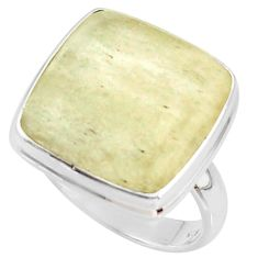 925 silver 14.40cts natural libyan desert glass solitaire ring size 8.5 r37850