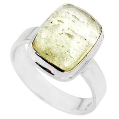 925 silver 4.69cts natural libyan desert glass solitaire ring size 6 r64472