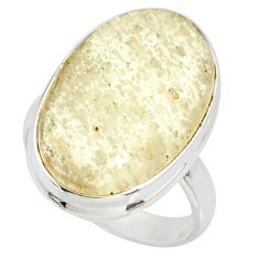 925 silver 13.87cts natural libyan desert glass solitaire ring size 7 r37860