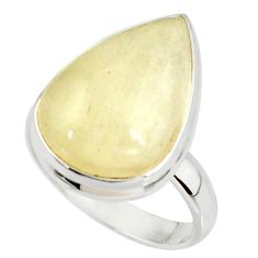 925 silver 14.40cts natural libyan desert glass solitaire ring size 8 r37834