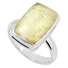 925 silver 6.84cts natural libyan desert glass solitaire ring size 8 r37844