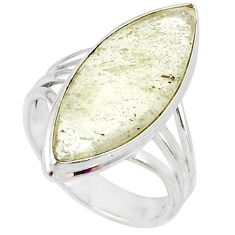 925 silver 11.55cts natural libyan desert glass solitaire ring size 8 r64459