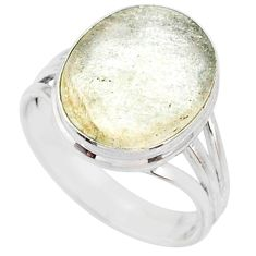 925 silver 9.18cts natural libyan desert glass solitaire ring size 9 r64447