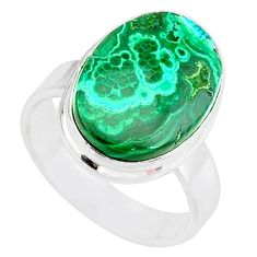 925 silver 9.57cts natural malachite in chrysocolla solitaire ring size 7 r83552