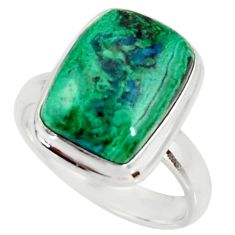 925 silver 7.62cts natural malachite in chrysocolla solitaire ring size 8 r34573