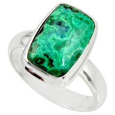 925 silver 7.11cts natural malachite in chrysocolla solitaire ring size 8 r34580