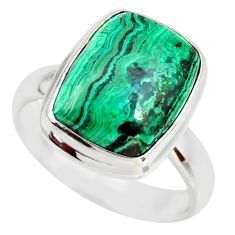925 silver 7.40cts natural malachite in chrysocolla solitaire ring size 8 r34588