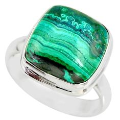 925 silver 9.65cts natural malachite in chrysocolla solitaire ring size 8 r34592