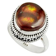 925 silver 6.80cts natural mexican fire agate fancy solitaire ring size 7 r22029