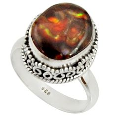 925 silver 6.57cts natural mexican fire agate fancy solitaire ring size 8 r22024