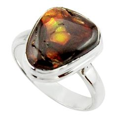 925 silver 6.31cts natural mexican fire agate fancy solitaire ring size 9 r22279