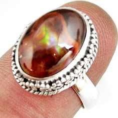 925 silver 5.95cts natural mexican fire agate solitaire ring size 6.5 r19291