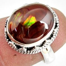 925 silver 6.79cts natural mexican fire agate solitaire ring size 6.5 r19299