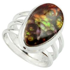 925 silver 7.12cts natural mexican fire agate solitaire ring size 6.5 r22078