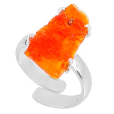 925 silver 7.62cts natural mexican fire opal adjustable ring size 6.5 r60137