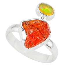 925 silver 5.92cts natural mexican fire opal ethiopian opal ring size 7 t10023