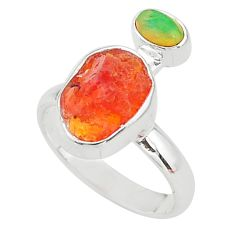 925 silver 6.49cts natural mexican fire opal ethiopian opal ring size 7 t10050