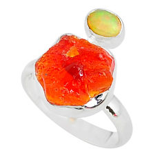 925 silver 7.24cts natural mexican fire opal ethiopian opal ring size 8 t10027