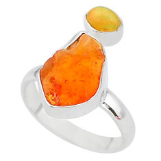 925 silver 6.85cts natural mexican fire opal ethiopian opal ring size 8 t10038