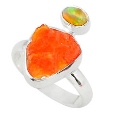 925 silver 6.61cts natural mexican fire opal ethiopian opal ring size 8 t10044