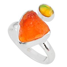 925 silver 6.85cts natural mexican fire opal ethiopian opal ring size 8 t10055