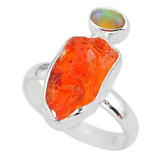 925 silver 7.24cts natural mexican fire opal ethiopian opal ring size 8 t10060