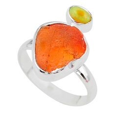 925 silver 6.85cts natural mexican fire opal ethiopian opal ring size 9 t10031