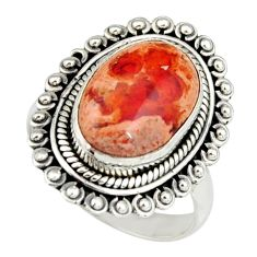 925 silver 6.31cts natural mexican fire opal fancy solitaire ring size 8 r19217