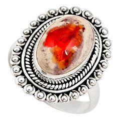 925 silver 6.02cts natural mexican fire opal fancy solitaire ring size 8 r21428