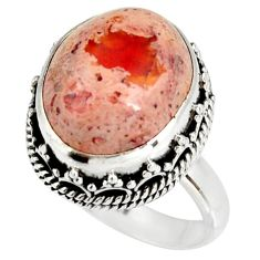 925 silver 7.76cts natural mexican fire opal oval solitaire ring size 7 r19272